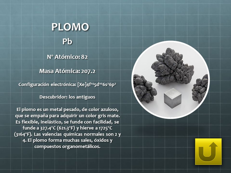 PLOMO Pb Nº Atómico: 82 Masa Atómica: 207.2