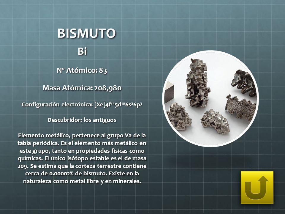 BISMUTO Bi Nº Atómico: 83 Masa Atómica: 208,980