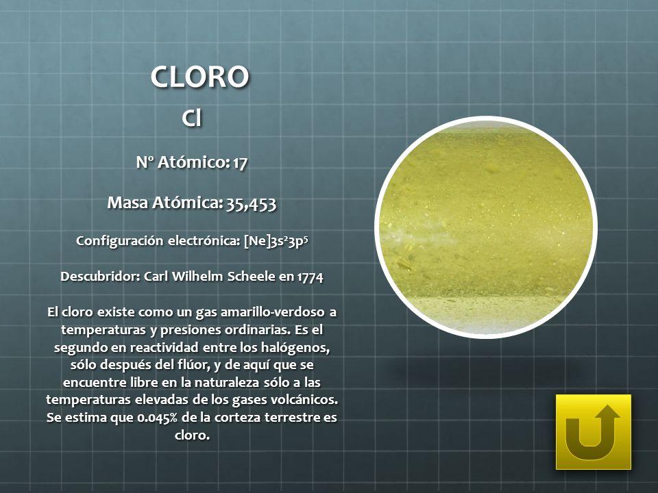 CLORO Cl Nº Atómico: 17 Masa Atómica: 35,453