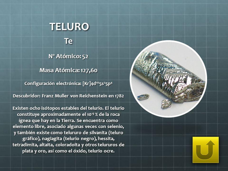TELURO Te Nº Atómico: 52 Masa Atómica: 127,60