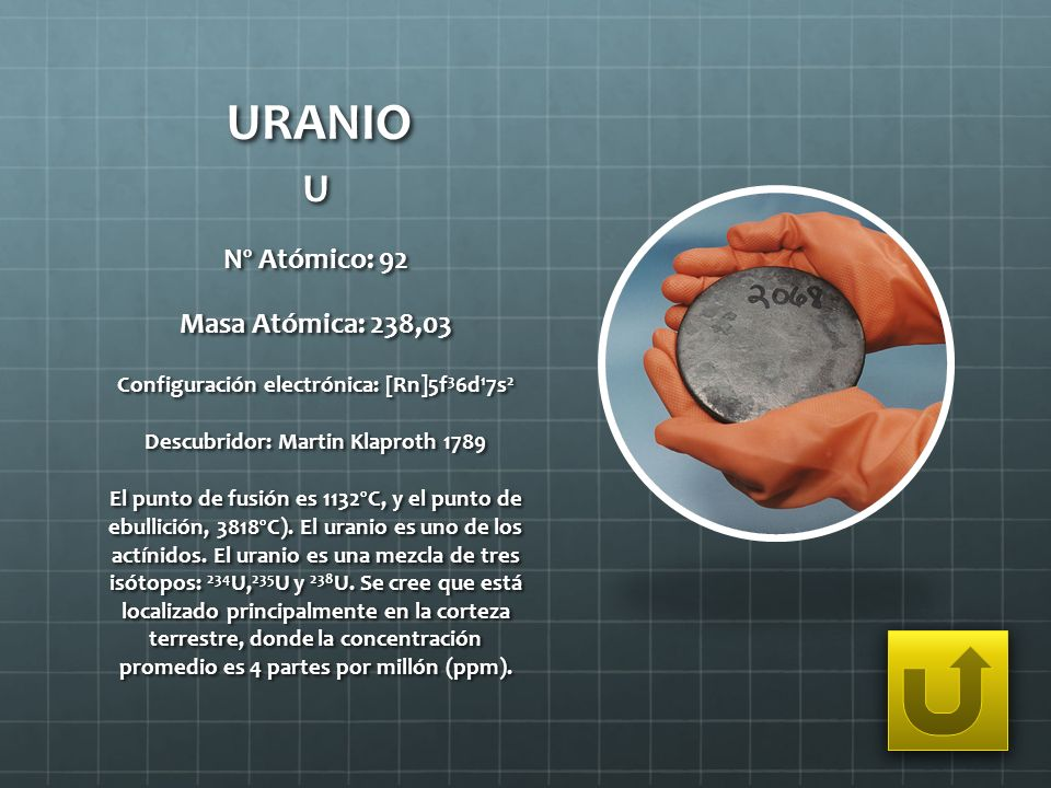 URANIO U Nº Atómico: 92 Masa Atómica: 238,03