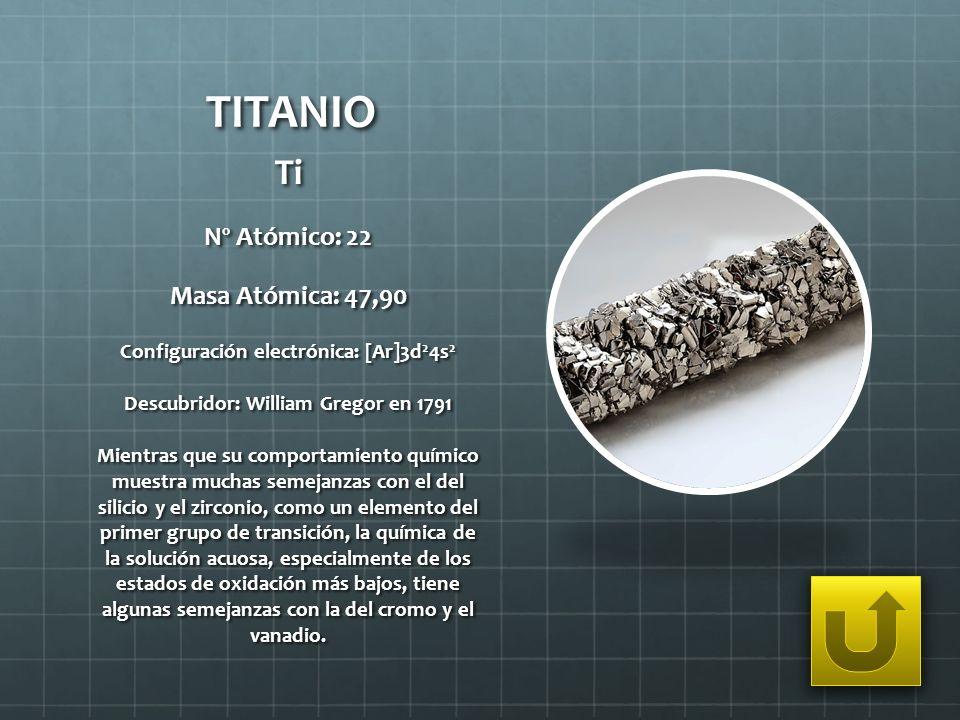TITANIO Ti Nº Atómico: 22 Masa Atómica: 47,90