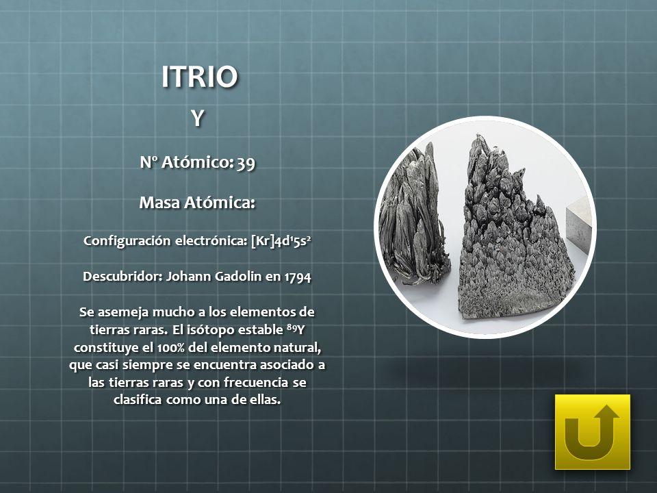 ITRIO Y Nº Atómico: 39 Masa Atómica: