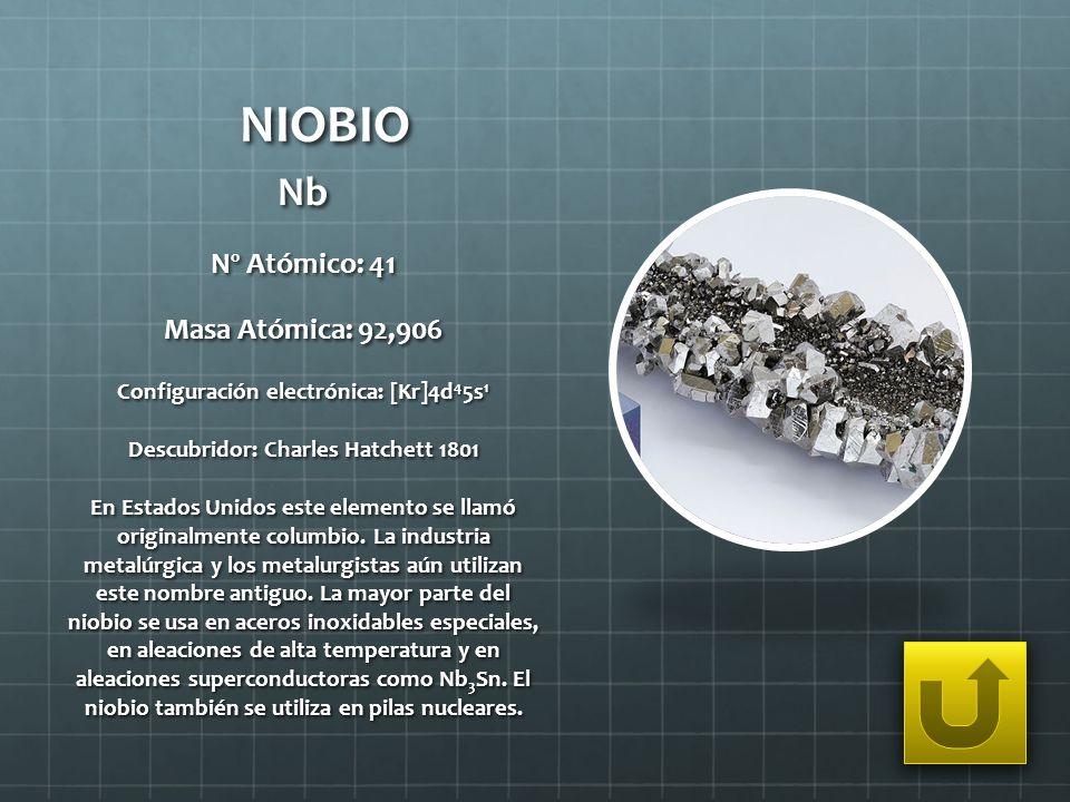 NIOBIO Nb Nº Atómico: 41 Masa Atómica: 92,906
