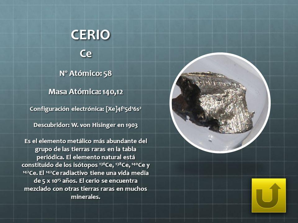 CERIO Ce Nº Atómico: 58 Masa Atómica: 140,12