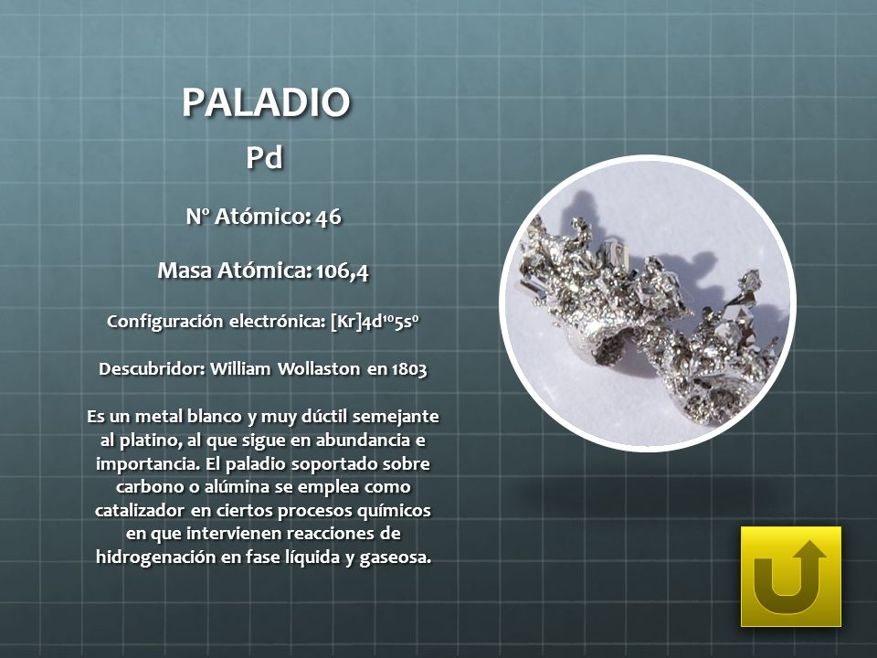 PALADIO Pd Nº Atómico: 46 Masa Atómica: 106,4