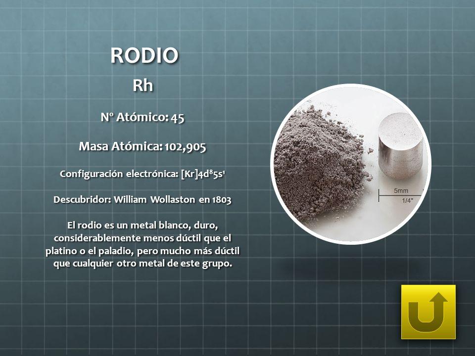 RODIO Rh Nº Atómico: 45 Masa Atómica: 102,905