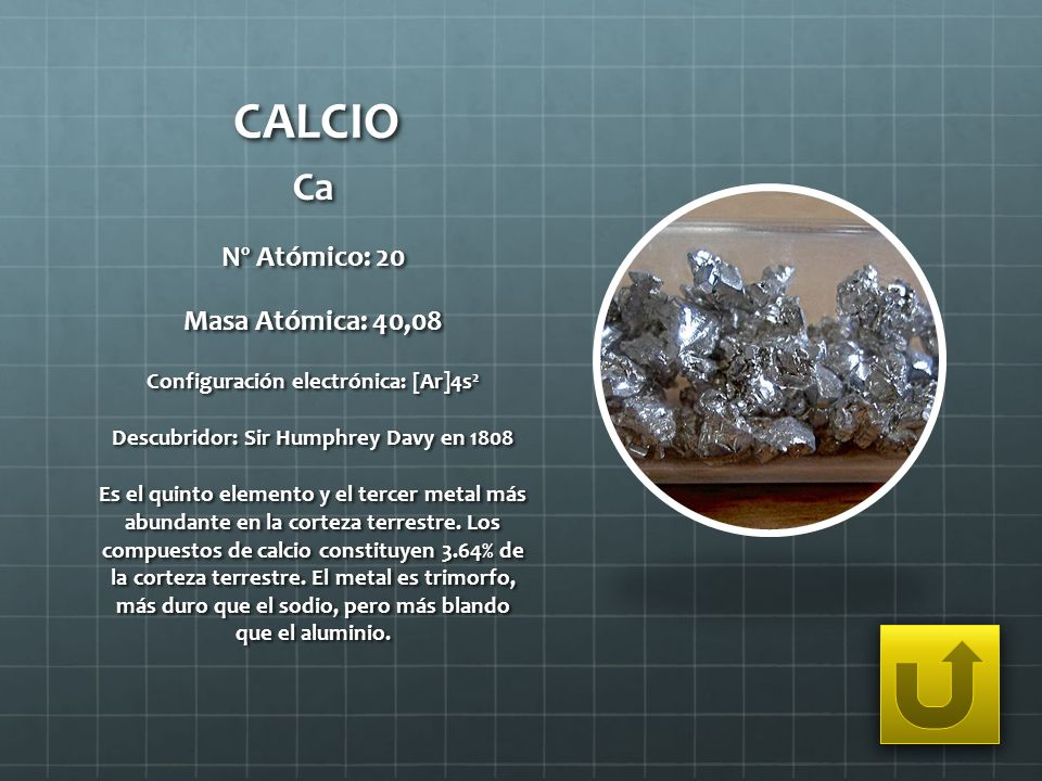 CALCIO Ca Nº Atómico: 20 Masa Atómica: 40,08
