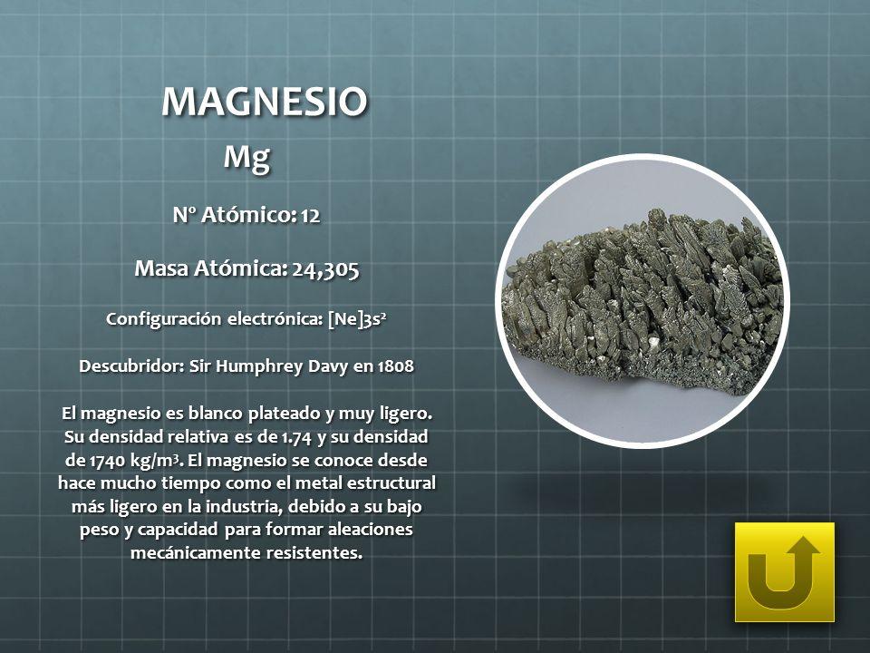 MAGNESIO Mg Nº Atómico: 12 Masa Atómica: 24,305