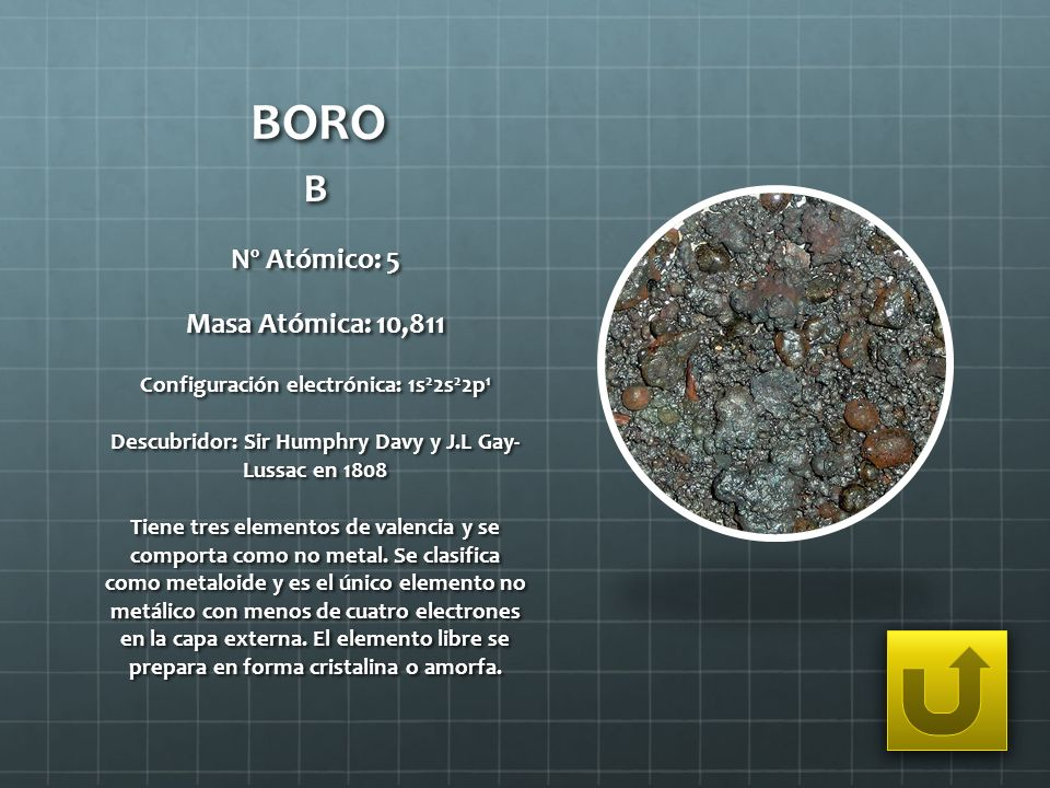 BORO B Nº Atómico: 5 Masa Atómica: 10,811