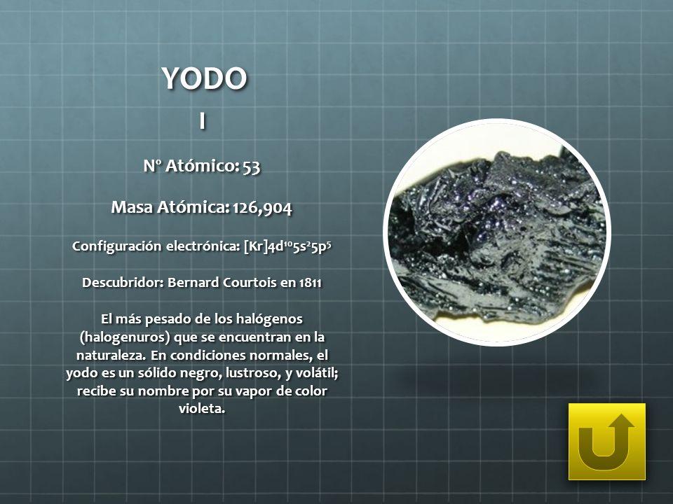 YODO I Nº Atómico: 53 Masa Atómica: 126,904