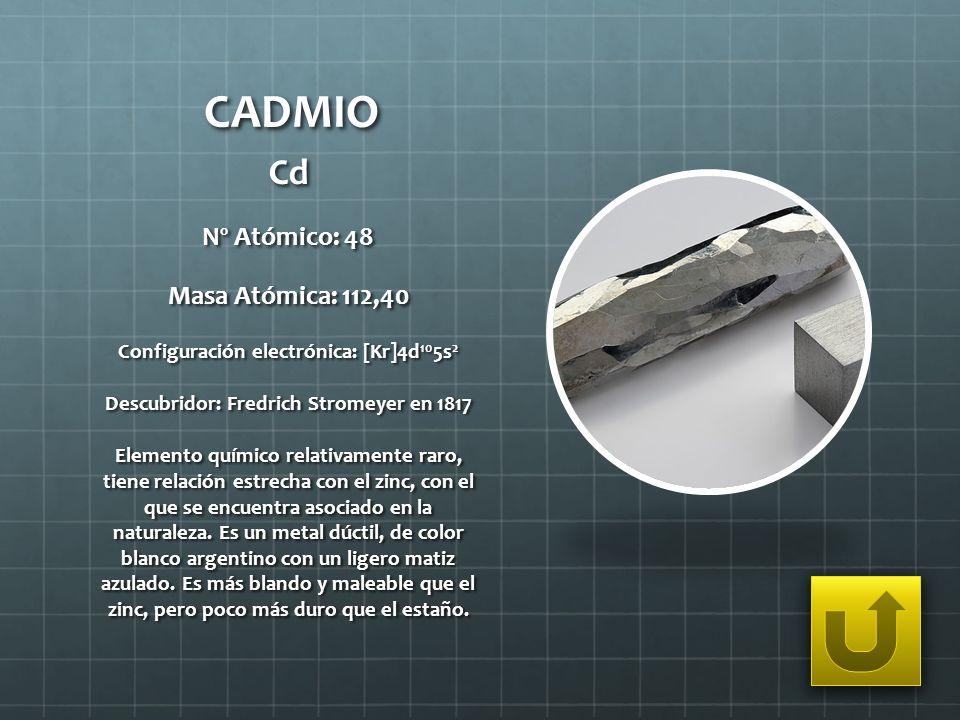 CADMIO Cd Nº Atómico: 48 Masa Atómica: 112,40