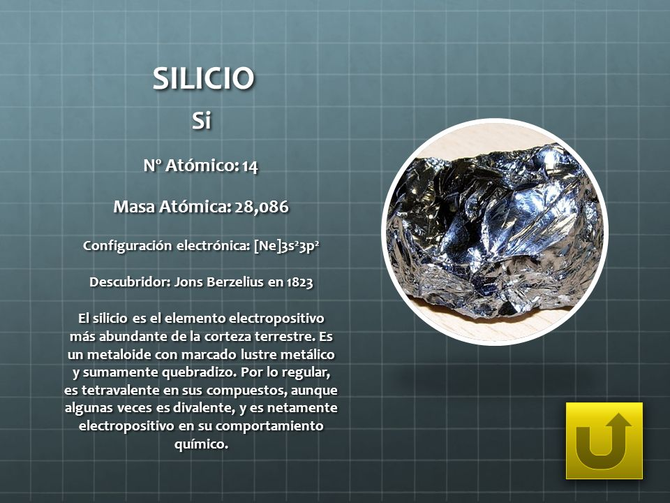 SILICIO Si Nº Atómico: 14 Masa Atómica: 28,086