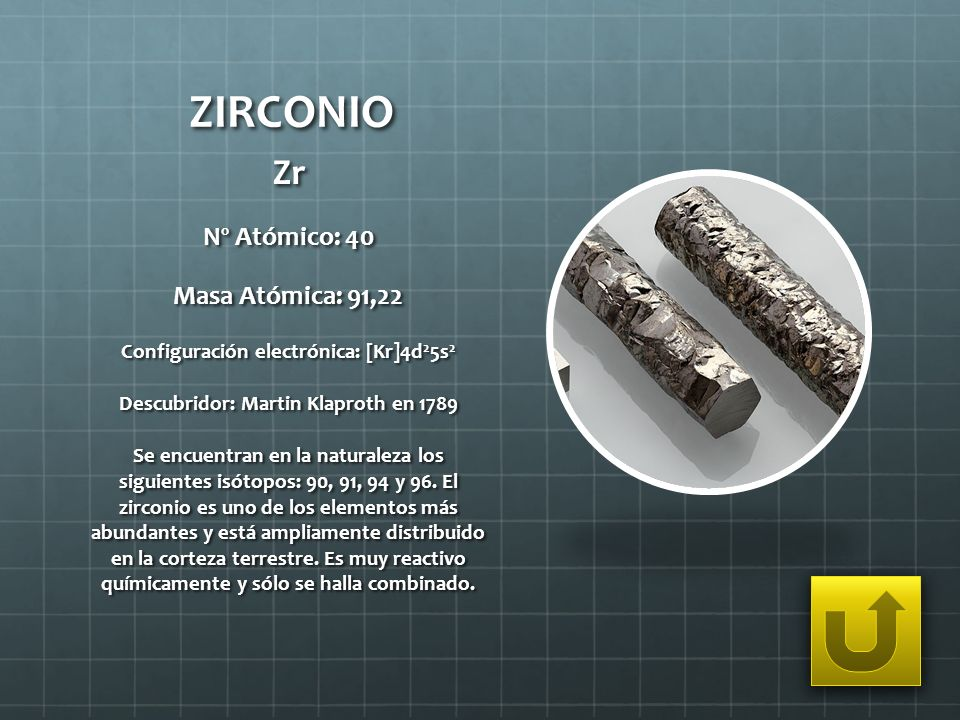 ZIRCONIO Zr Nº Atómico: 40 Masa Atómica: 91,22