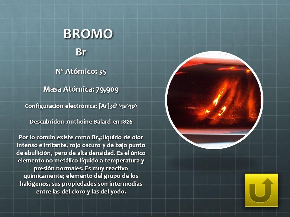 BROMO Br Nº Atómico: 35 Masa Atómica: 79,909