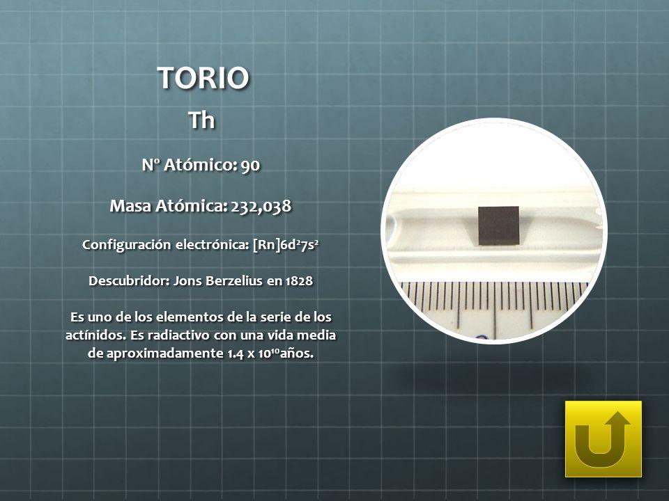 TORIO Th Nº Atómico: 90 Masa Atómica: 232,038