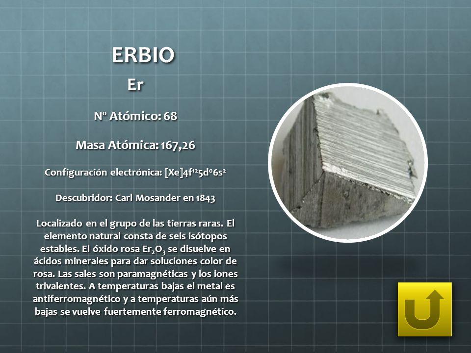 ERBIO Er Nº Atómico: 68 Masa Atómica: 167,26