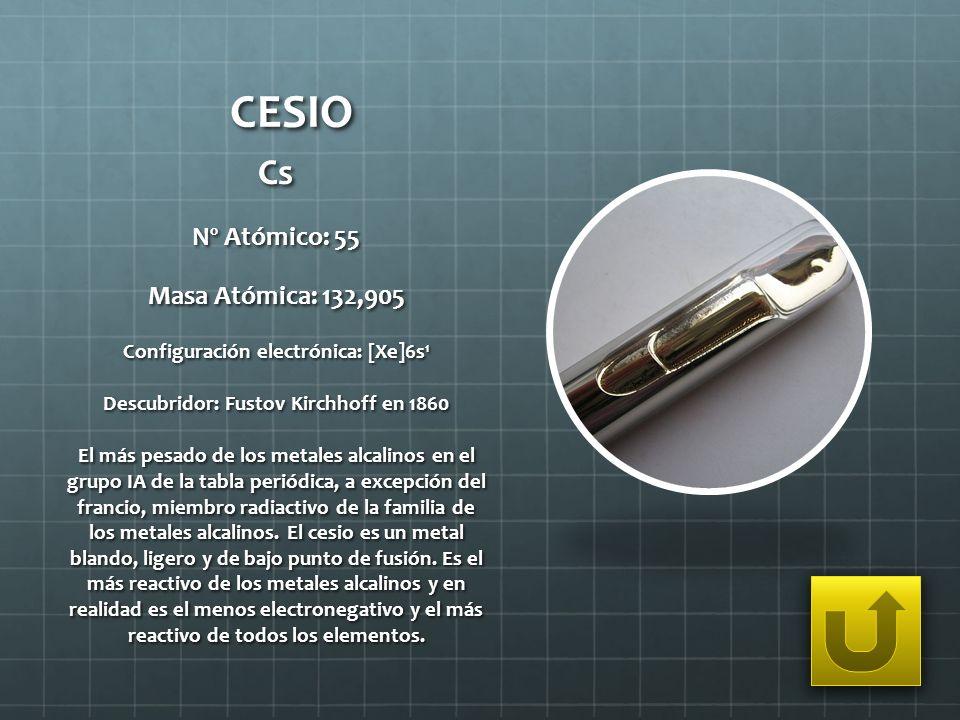 CESIO Cs Nº Atómico: 55 Masa Atómica: 132,905