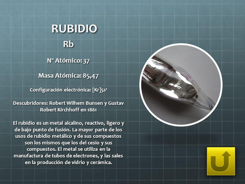 RUBIDIO Rb Nº Atómico: 37 Masa Atómica: 85,47