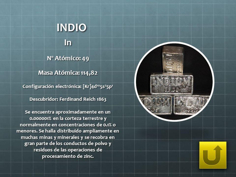 INDIO In Nº Atómico: 49 Masa Atómica: 114,82