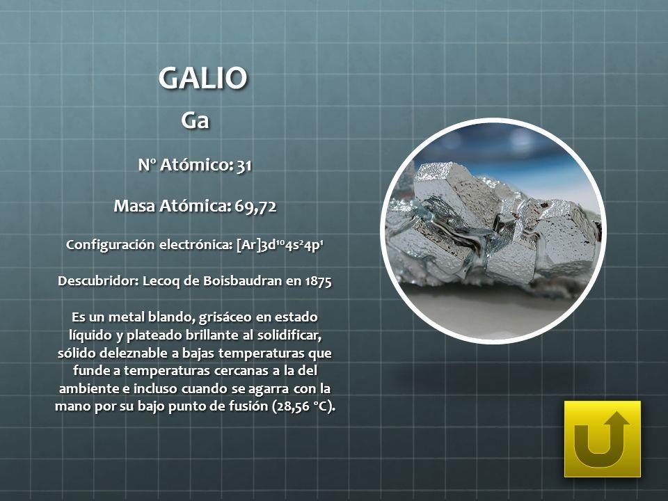 GALIO Ga Nº Atómico: 31 Masa Atómica: 69,72