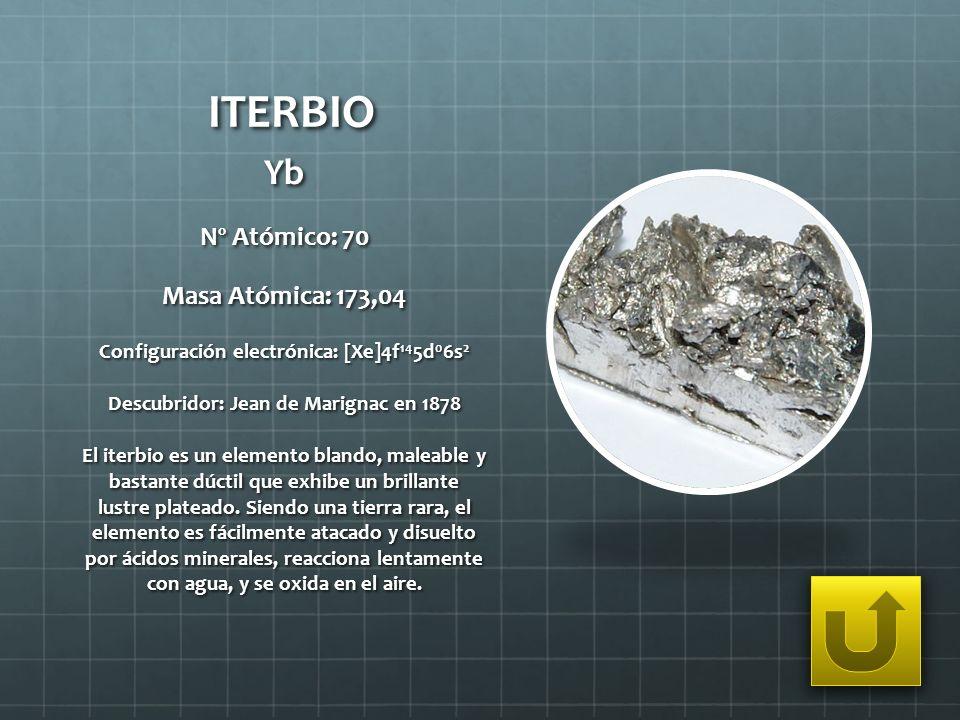 ITERBIO Yb Nº Atómico: 70 Masa Atómica: 173,04