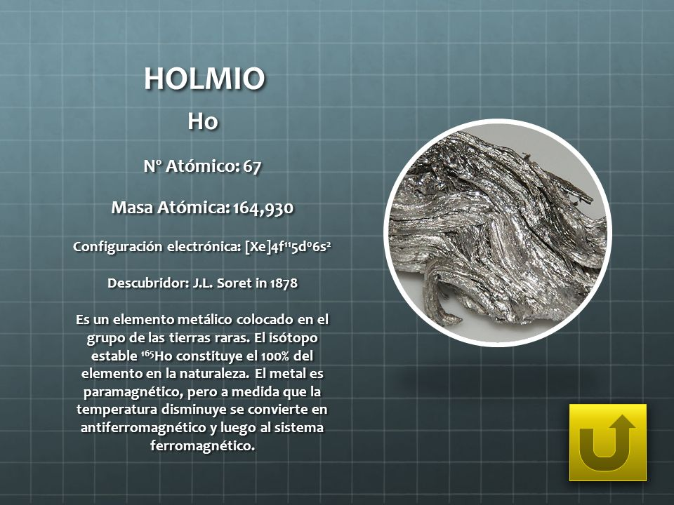 HOLMIO Ho Nº Atómico: 67 Masa Atómica: 164,930