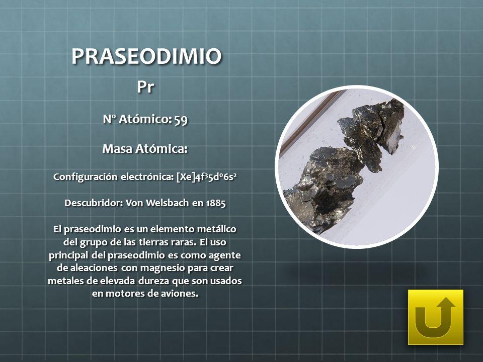 PRASEODIMIO Pr Nº Atómico: 59 Masa Atómica: