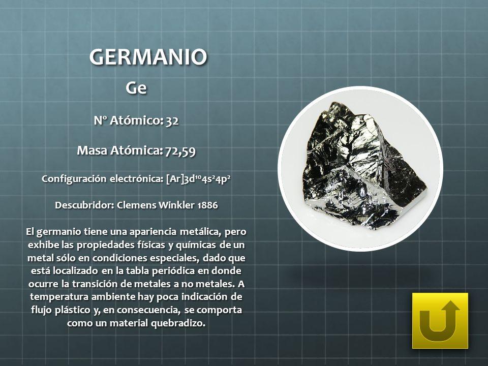 GERMANIO Ge Nº Atómico: 32 Masa Atómica: 72,59