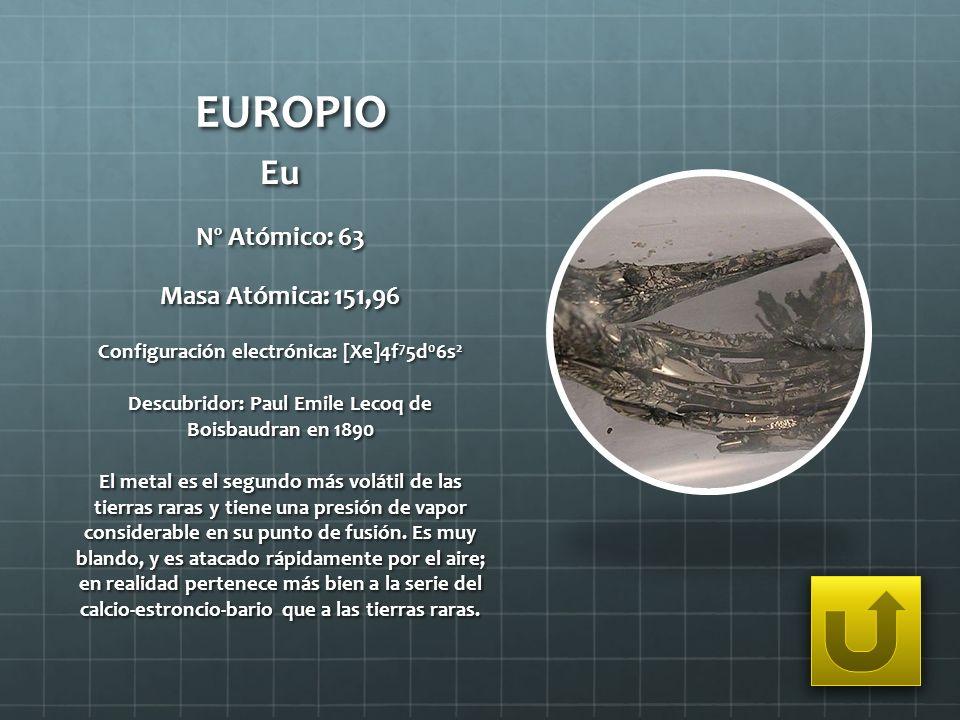 EUROPIO Eu Nº Atómico: 63 Masa Atómica: 151,96