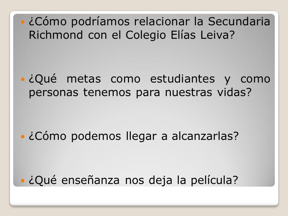 ¿Cómo podríamos relacionar la Secundaria Richmond con el Colegio Elías Leiva