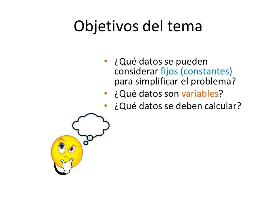Objetivos del tema ¿Qué datos se pueden considerar fijos (constantes) para simplificar el problema