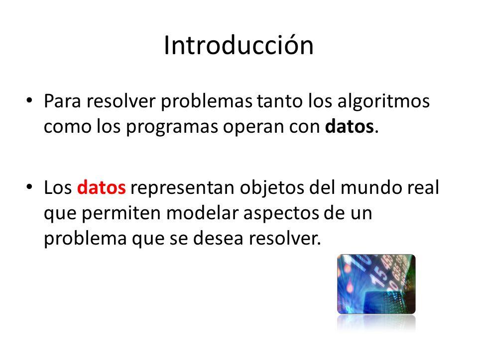 Introducción Para resolver problemas tanto los algoritmos como los programas operan con datos.