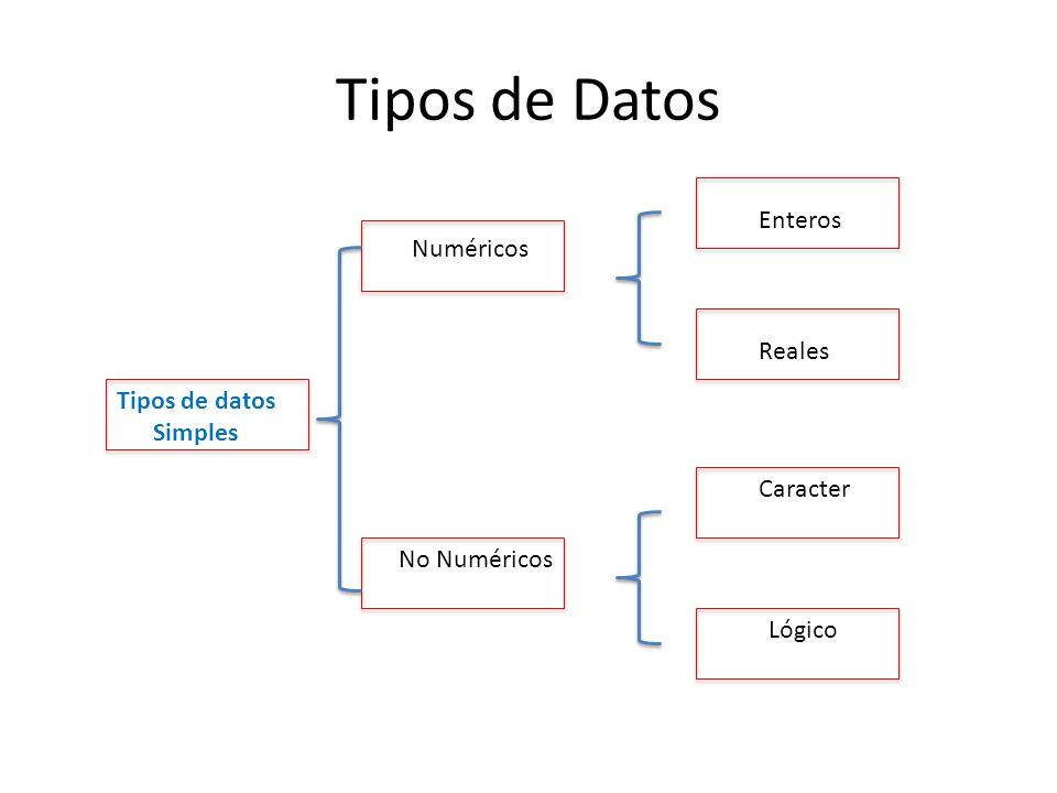 Tipos de Datos Enteros Numéricos Reales Tipos de datos Simples