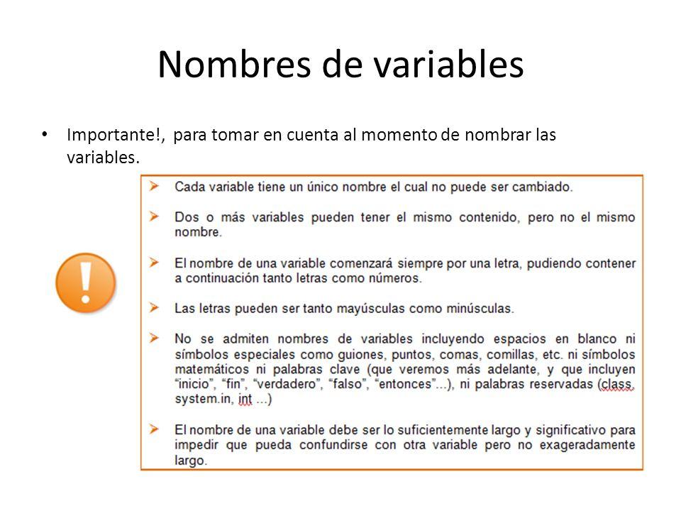 Nombres de variables Importante!, para tomar en cuenta al momento de nombrar las variables.