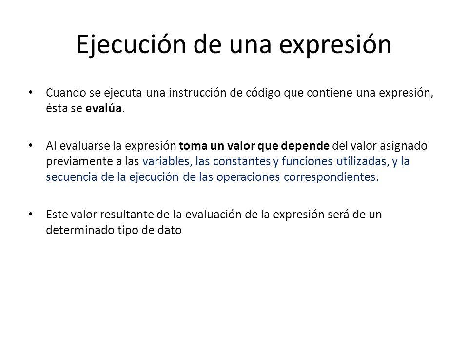 Ejecución de una expresión