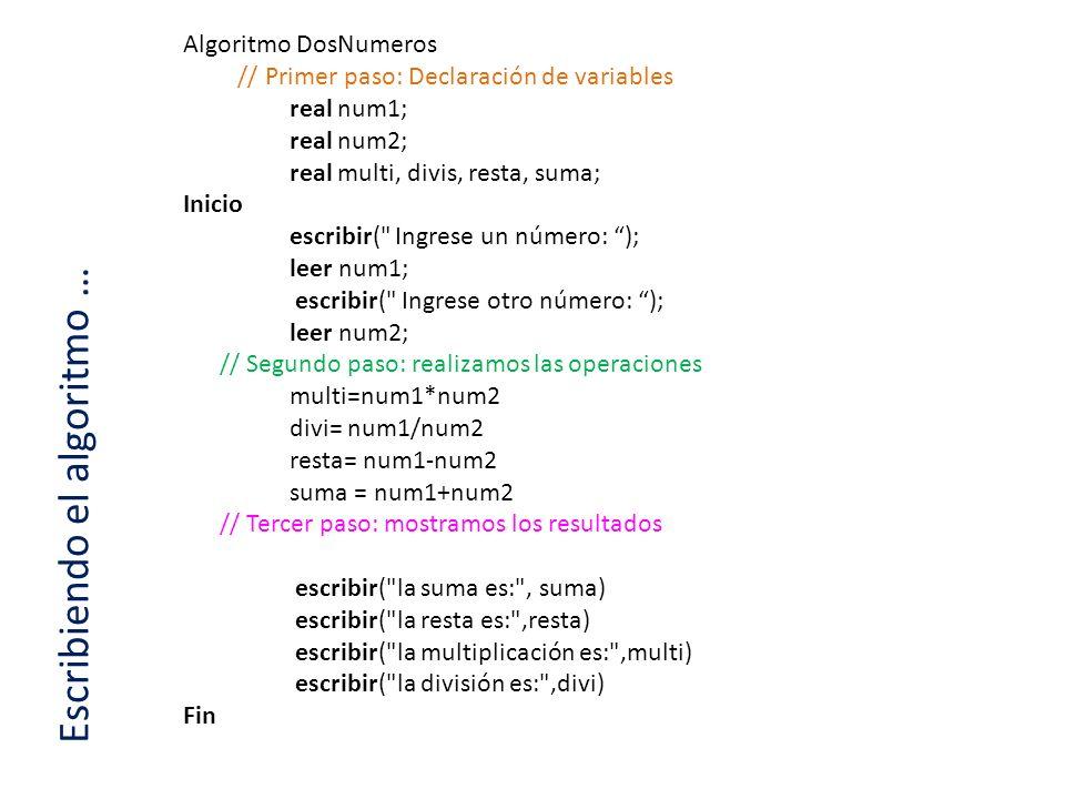 Escribiendo el algoritmo …