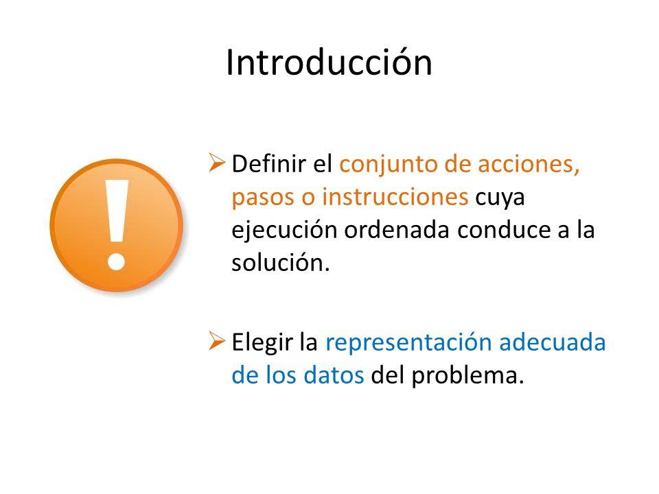 Introducción Definir el conjunto de acciones, pasos o instrucciones cuya ejecución ordenada conduce a la solución.