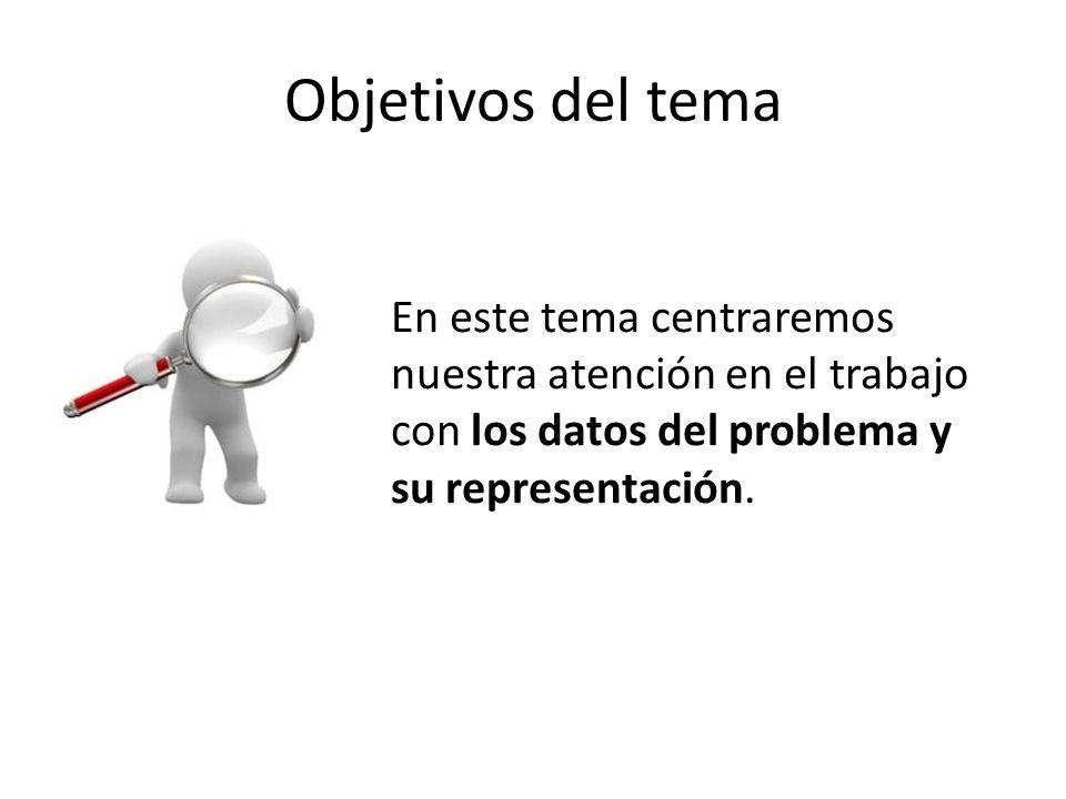 Objetivos del tema En este tema centraremos nuestra atención en el trabajo con los datos del problema y su representación.