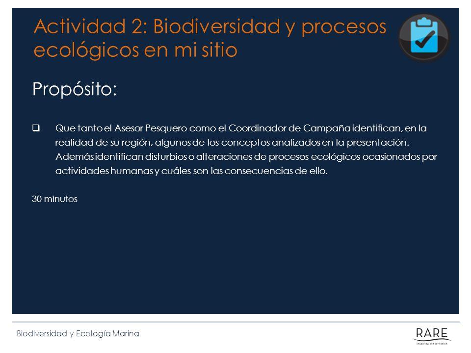 Actividad 2: Biodiversidad y procesos ecológicos en mi sitio