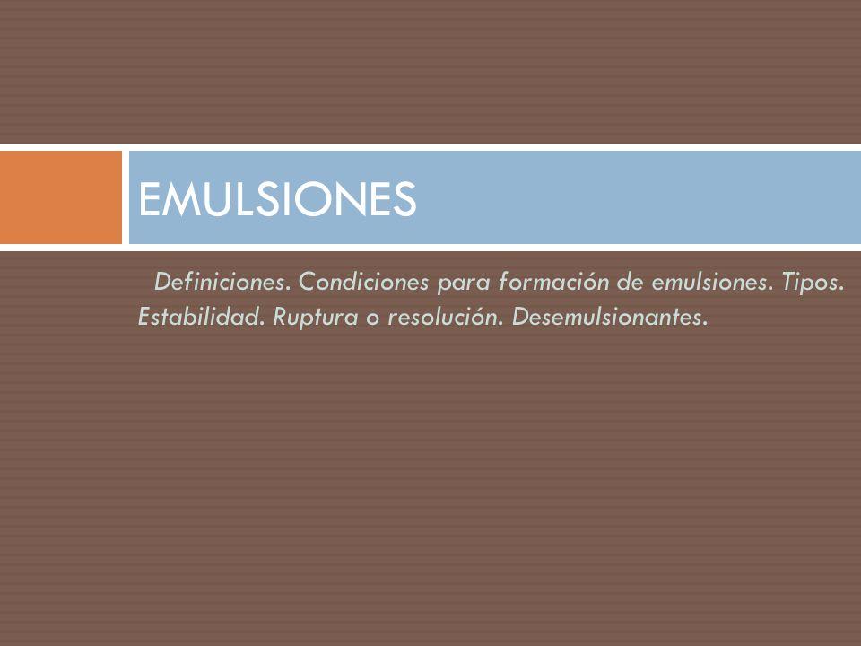 EMULSIONES Definiciones. Condiciones para formación de emulsiones.