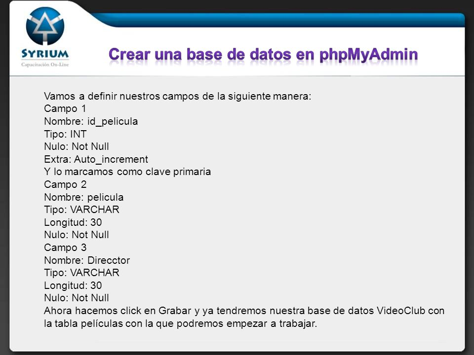 Crear una base de datos en phpMyAdmin