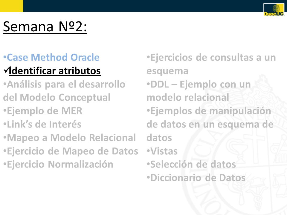 Semana Nº2: Case Method Oracle Identificar atributos
