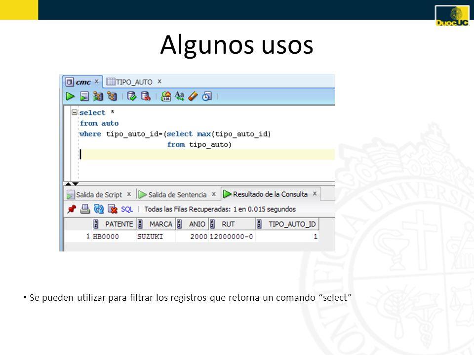 Algunos usos Se pueden utilizar para filtrar los registros que retorna un comando select