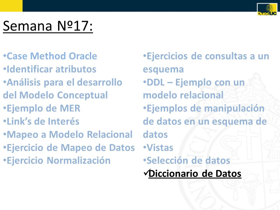 Semana Nº17: Case Method Oracle Identificar atributos