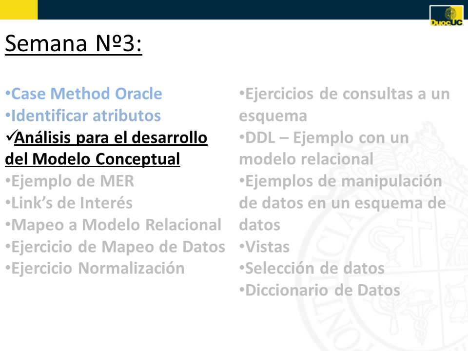 Semana Nº3: Case Method Oracle Identificar atributos