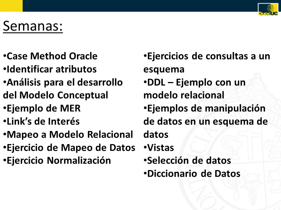 Semanas: Case Method Oracle Identificar atributos