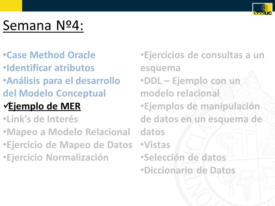 Semana Nº4: Case Method Oracle Identificar atributos