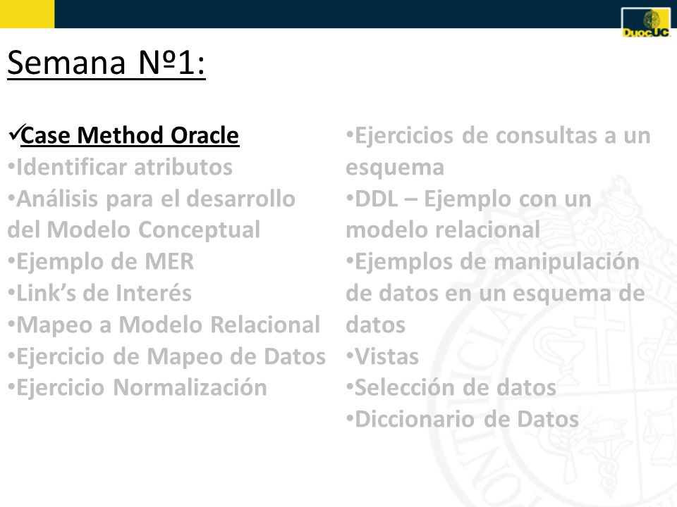 Semana Nº1: Case Method Oracle Identificar atributos