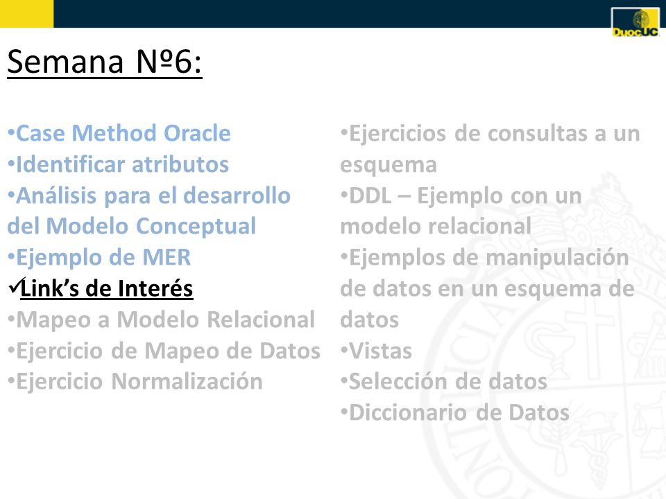 Semana Nº6: Case Method Oracle Identificar atributos